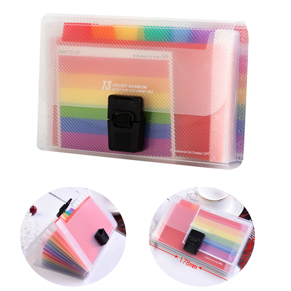 Organizer Receipt File Folder PP Expandable Document School A6 Accordion Buckle 13 Pockets Rainbow Innner Storage Office