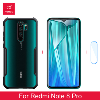For Xiaomi Redmi Note 8 Pro Ring Case Airbag Shockproof Transparent Bumper Cover Screen Protector Tempered Glass Lens Film Xundd
