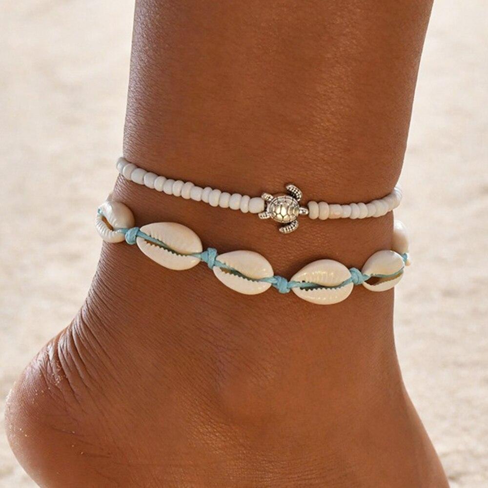Vintage Adjustable Anklets Set for Women Shell Turtle Leg Chain Blue White Multilayer Anklet Bracelets 2020 BOHO Body Jewelry