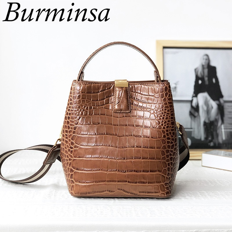 Burminsa Winter Small Crocodile Pattern Bucket Shoulder Bags Women Genuine Leather Handbags High Quality Ladies Messenger Bags