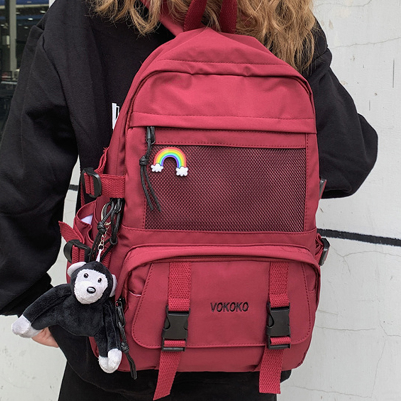 EnoPella Fashion Waterproof Nylon Women Backpack For Girls Travel High Capacity Student BookBag Men Black Laptop Bag
