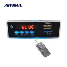 Aiyima mp3 decodificador placa de áudio leitor de música azul display led 5 w * 2 amplificador bluetooth decodificação aux usb cartão sd fm rádio