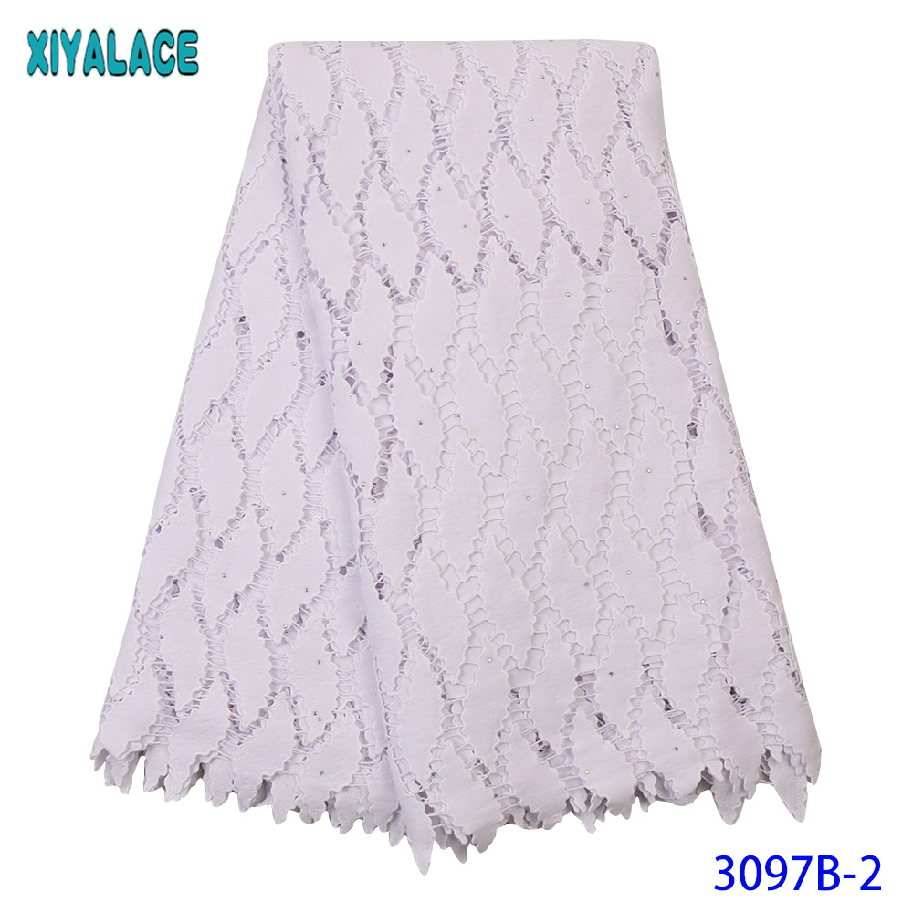 Pure White Nigerian Cord Lace 2019 French Guipure Lace Fabric Embroidered African Dry Lace Fabric With Stones For Party KS3097B