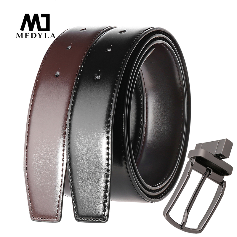 MEDYLA Natural Leather Belt Without Buckle DIY Assembly Use On Both Sides Business Belt For Men Rotating Metal Buckle Suit Belt