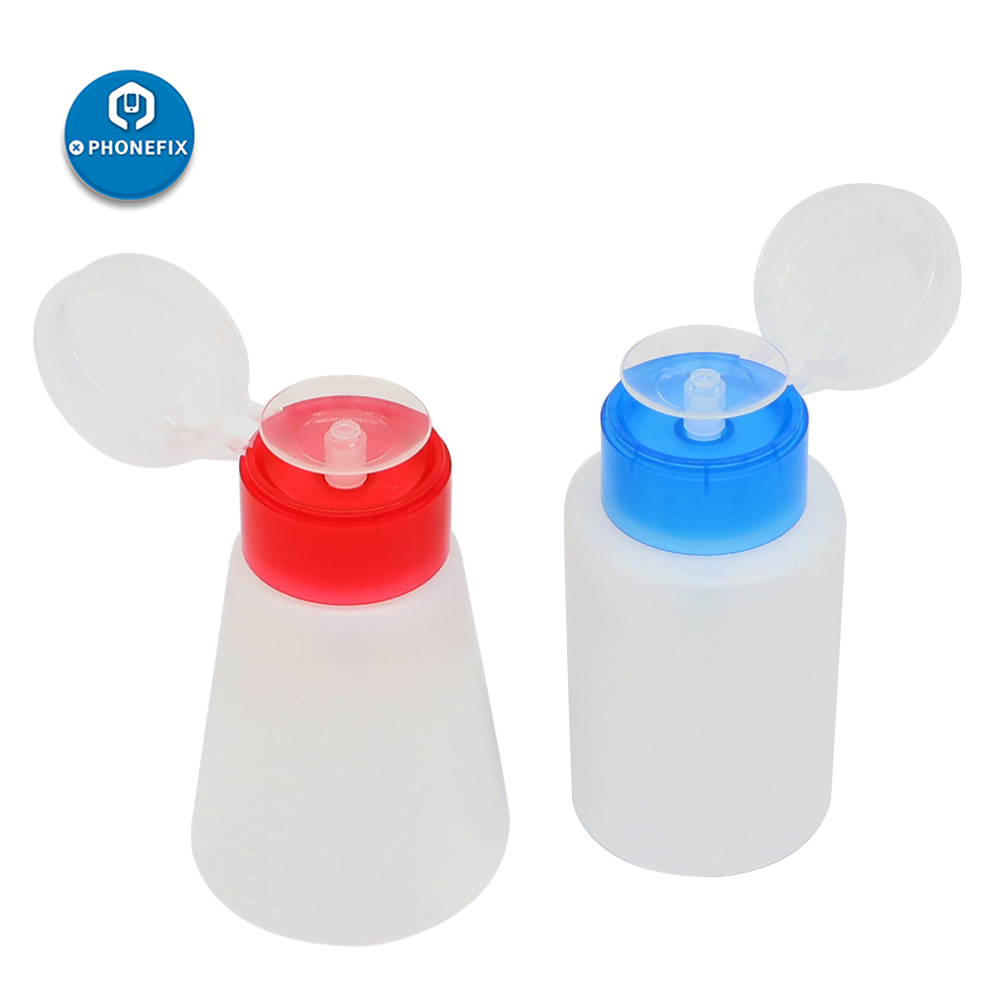 PHONEFIX 1Pc 180ml Empty Plastic Alcohol Liquid Press Pumping Dispenser Bottle Nail Polish Remover Art UV Gel Cleaner Bottle