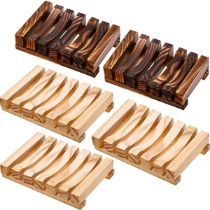 Bathroom Wooden Soap Case Holder Home Hand Craft Natural Wood Dish Holder for Soap Sponge Scrubber, 5 Pieces, 2 Colors