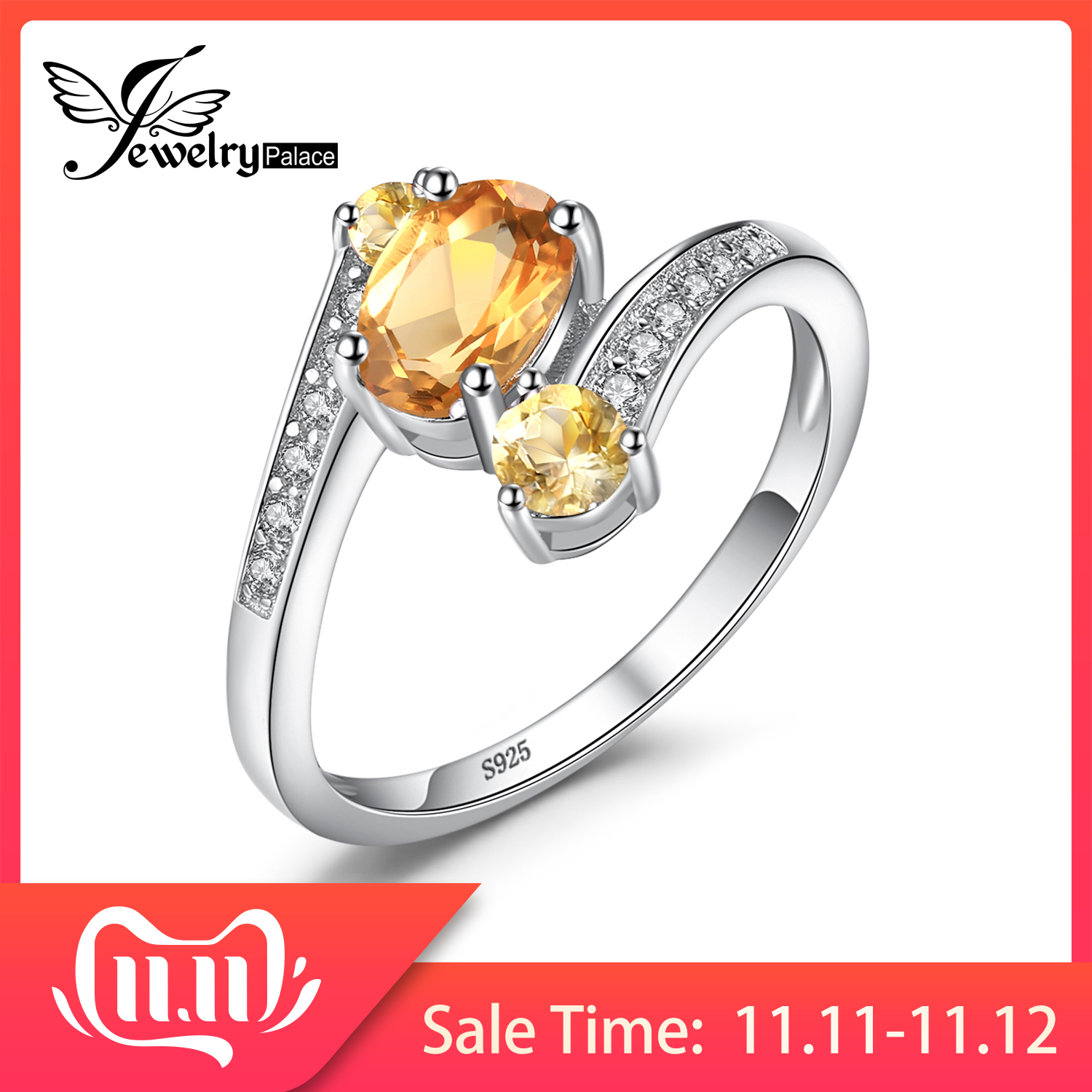 JewelryPalace 3 Stones Genuine Citrine Ring 925 Sterling Silver Rings For Women Engagement Ring Silver 925 Gemstones Jewelry