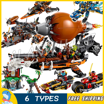 6types 2016 Ninja Theme Pirate's Airship Misfortune's Keep Zeppelin Dragon Model Building Blocks Child Toy Compatible With Brick image