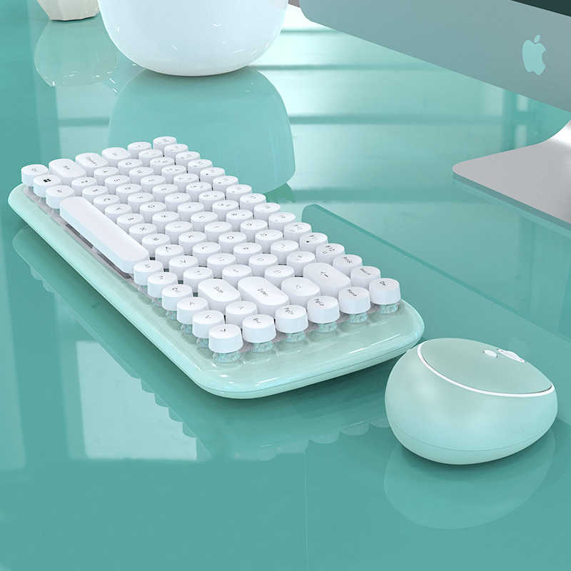 2.4G USB Wireless Mini Keyboard Mouse Combo Permen Bulat Tombol Keyboard Mouse untuk MacBook Lenovo Dell Asus Laptop HP komputer PC