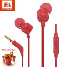 חדש JBL T110 ב אוזן Wired מקורי אוזניות סטריאו העמוק בס אוזניות ספורט אוזניות עם מיקרופון תמיכה Xiaomi Huawei