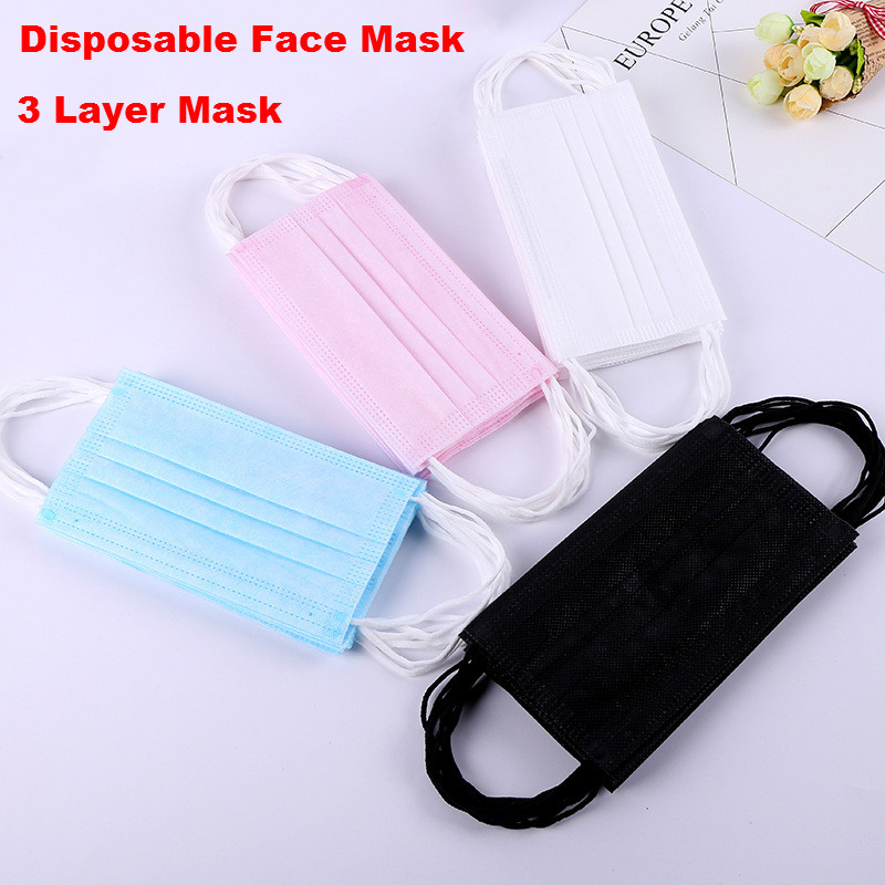 Disposable Face Mask 3 Layer Solid Color Nonwoven Fabric Dust Protection Dustproof  Mouth Masks Facial Protective Cover Mask