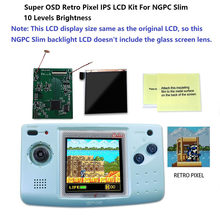 Super osd versão grande tela ips lcd para ngpc magro backlight lcd para neogeo bolso cor magro jogo console