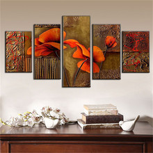 Hand made Large Abstract oil painting on canvas brown modular pictures 5 panels Decorative Wall Art red Abstract group painting classic lion series paintings 5 piece large canvas print wall art modular painting on decoration pictures zt 3 60