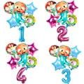 6 шт./компл. Cocomelon воздушный шар, 32 дюйма, воздушный шар с цифрами для детского дня рождения, украшение для вечеринки, для раннего развития, Мул...