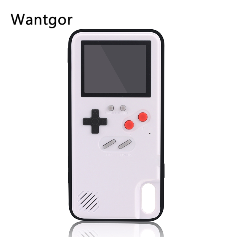 BY Retro Full Color Display Game phone Case for iPhone 6 7 8 Plus TPU Frame gameboy coque for iPhone X Xs Max Xr Funda Capa
