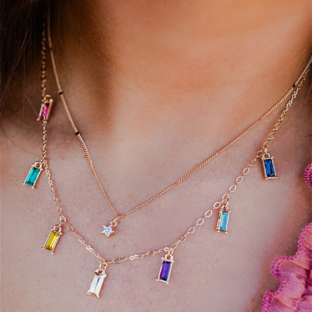 Fashion Crystal Five-pointed Star Color Rectangle Pendant Necklaces For Women Multilevel Geometry Chain Female Necklace Jewelry