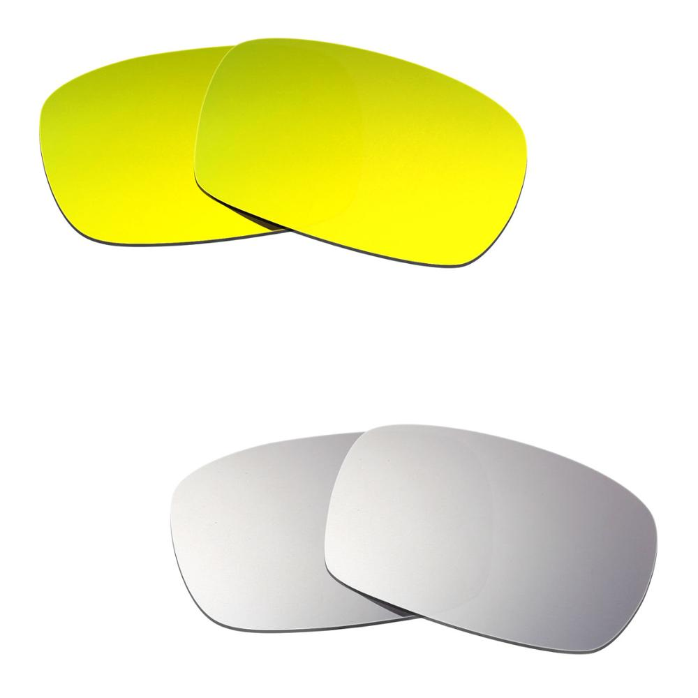 Hkuco For Crankcase Sunglasses Polarized Replacement Lenses 2 Pairs - Gold&Silver