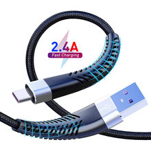 Fast Charge 2.4A USB Type C Cable For Samsung Galaxy S20 S21 S9 S8 Plus Note 20 Huawei P30 Pro Mobile Phone Charging Wire Cable