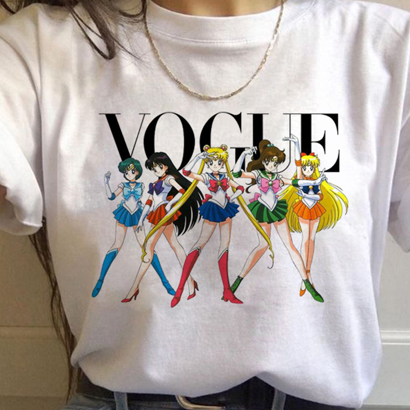 90s Tshirt Fashion Graphic Top Tee Female Sailor Moon Harajuku Kawaii Anime T Shirt Women Ullzang Funny Cartoon T-shirt Cute Cat