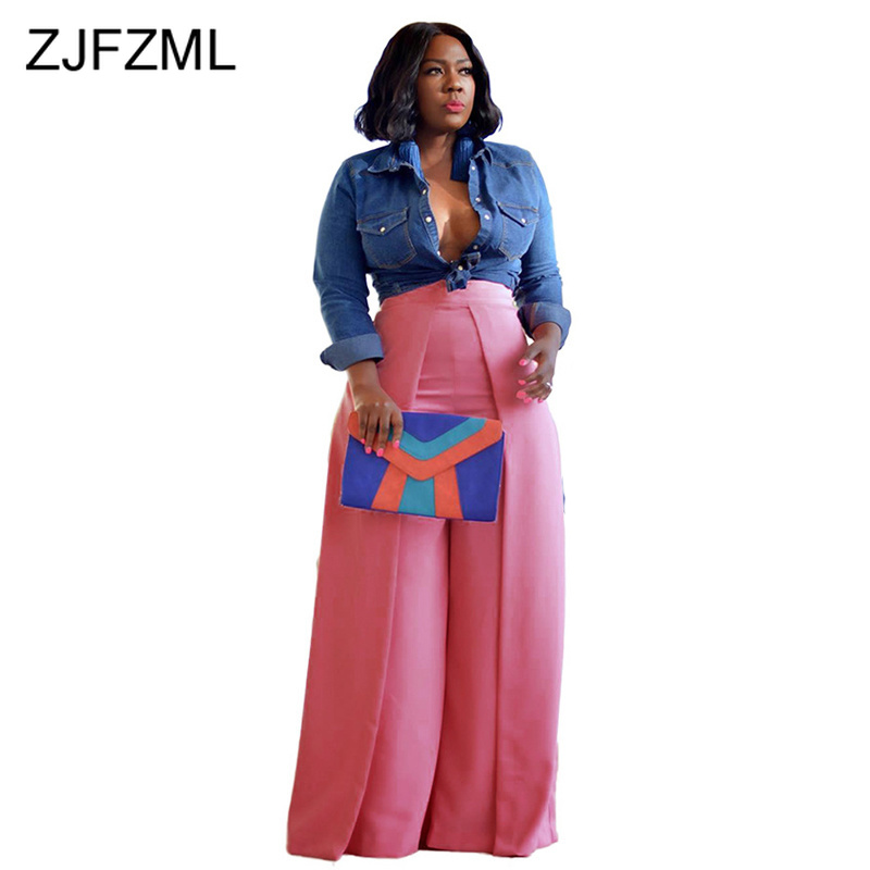High Waist Autumn Winter   Wide     Leg     Pants   2019 Women Elastic Waist Full Length Trousers Streetwear Female Boot Cut Party Pantalons