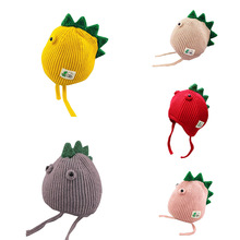 Cute Winter Newborn Warm Kids Girls Boys Baby Dinosaur Design Hats Knitted Wool Hemming Caps
