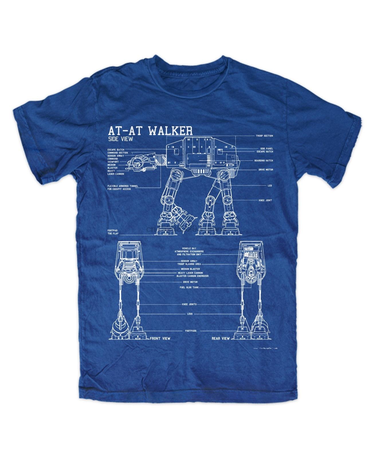 Мужская футболка AT-AT Walker Premium, голубая забавная футболка с принтом «Звездный Корабль», космические войны
