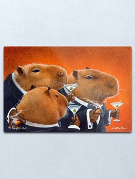 Will Bullas / art print / Cabybara Club... / humor / animals Metal Print Wall Art Home Wall Decor Tin Sign image