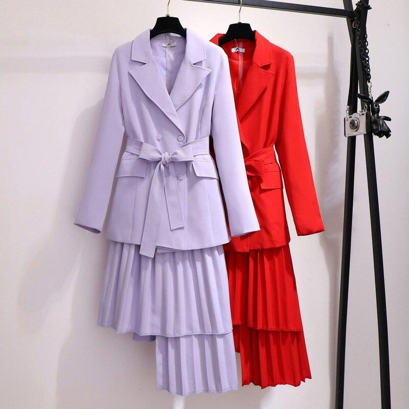 Ladies Suit Plus Size Ladies Temperament Autumn And Winter New Suit Elastic Waist Irregular Skirt Was Thin Two-piece Suit