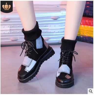 4COLOES sonbahar ve kış patlama süet tuval renk eşleştirme vahşi yüksek top yün mouthboots kadın ayakkabı artı boyutu 35-43