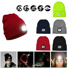 Knit Hat Beanie-Cap Lighted Running-Hat Dropship Women Camping Christmas-Gifts Hunting