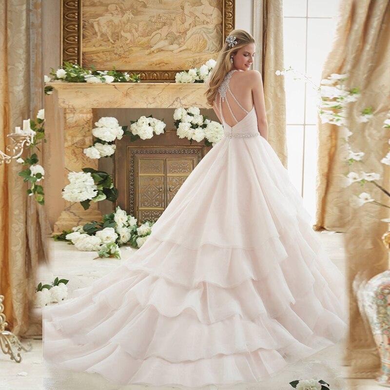 De Mariage Bespoke Chapel Organza Light Train Wedding Beading Pink Dreamy Dresses Brideschapelle Pleated Ruffles Elegant