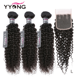 Yyong Hair Brazilian Kinky Curly Bundles With Closure 3 Bundles Human Hair With Closure Remy Hair Weave Bundles With Closure