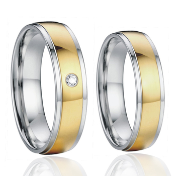 luxury custom titanium + 14k real gold couple wedding rings for men and women lover's alliance marriage jewelry finger ring china supplier his and hers gold color titanium wedding band finger rings women