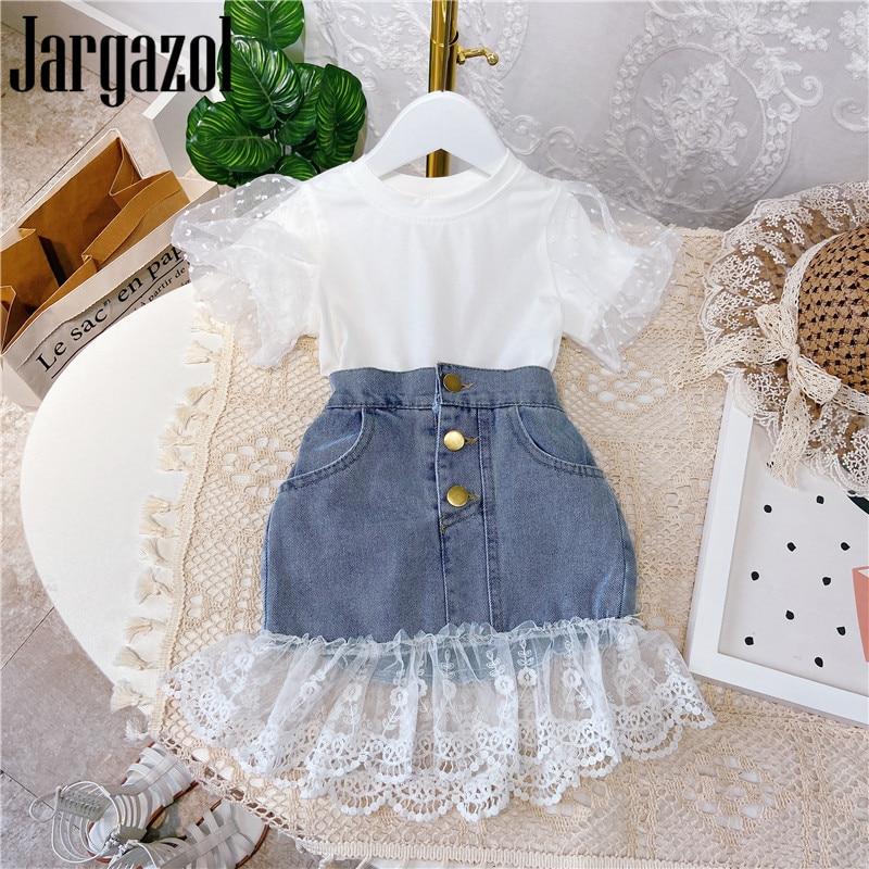 Jargazol Fashion Kids Clothes Puff Sleeve Shirt&lace Denim Skirt Korean Summer Little Girls Clothing Set Cute Children Outfits 1