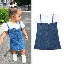 New 2019 Toddler Kids Baby Girls Tops Short Sleeve T-shirt Button Denim Bib Skirt Dress Fashion Casual 2PCS Outfits Clothes стоимость