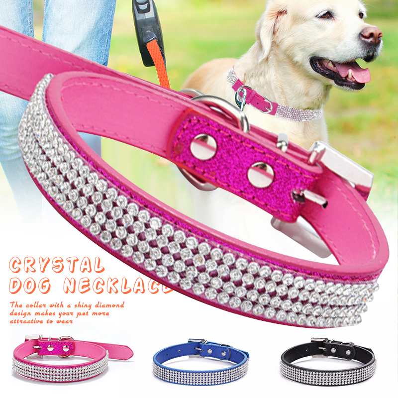 Puppy Collar Pet Dog Necklace Bling Rhinestone PU Leather Crystal Diamond Products collar perro Drop ship