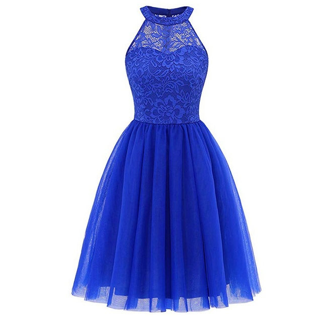 2020 wedding party dress prom gown fashion clothing Front short long back dark blue halter Bow Bridesmaid Dresses 5