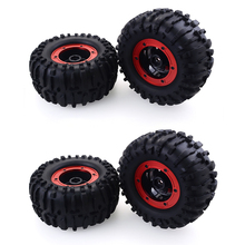 4Pcs 1/10 RC Monster Truck Rubber Tyres and Plastic Wheels for 1:10 Scale Traxxas TRX-4 HIMOTO HSP HPI Tamiya Kyosho RC Model henglong 1 16 scale plastic version german stug iii rtr rc tank model smog sound 3868