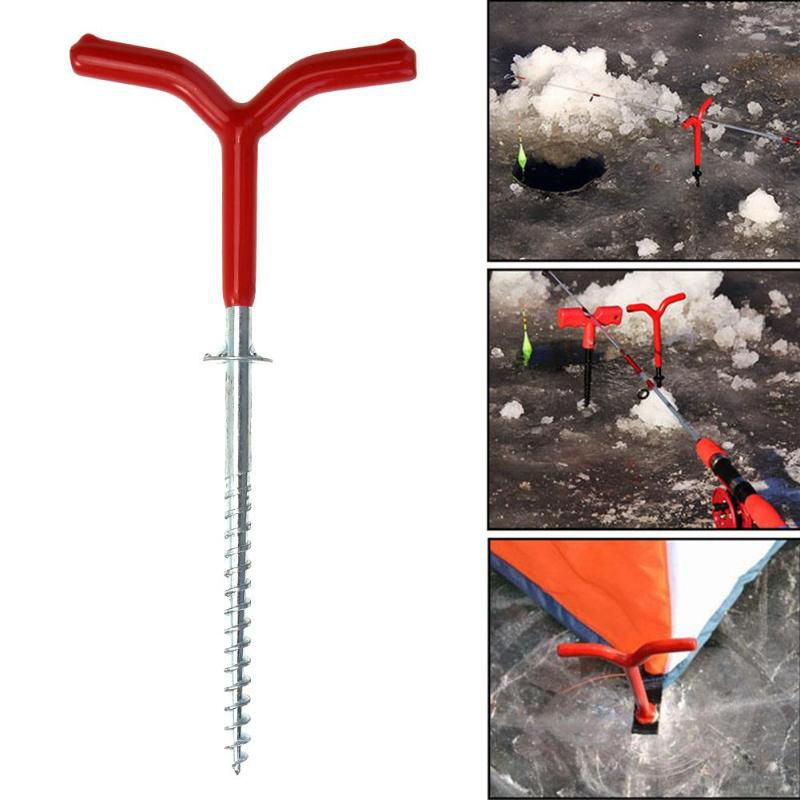 Ice Fishing Auger Drill Winter Winter Tent Pegs Fixed Nail Ice Fishing Rod Holder Screw Nail Ice Fishing Accessories