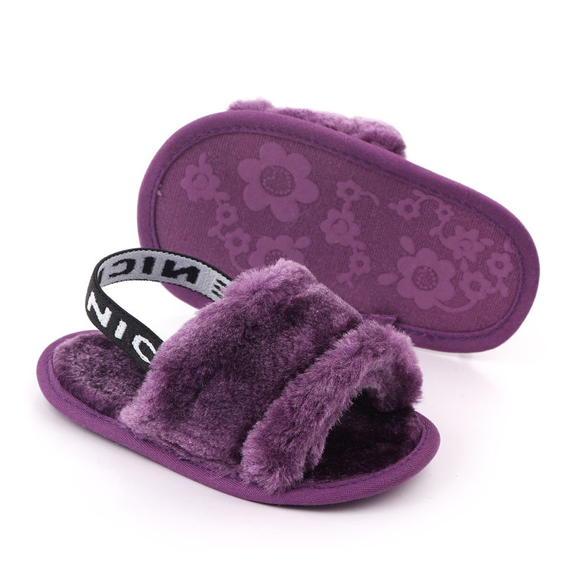 DOGEEK Baby Home Slippers Autumn Baby Infant Princess Sandals Crib Shoes 0-18M Newborn Baby Girl Slippers With Fur Soft Sole