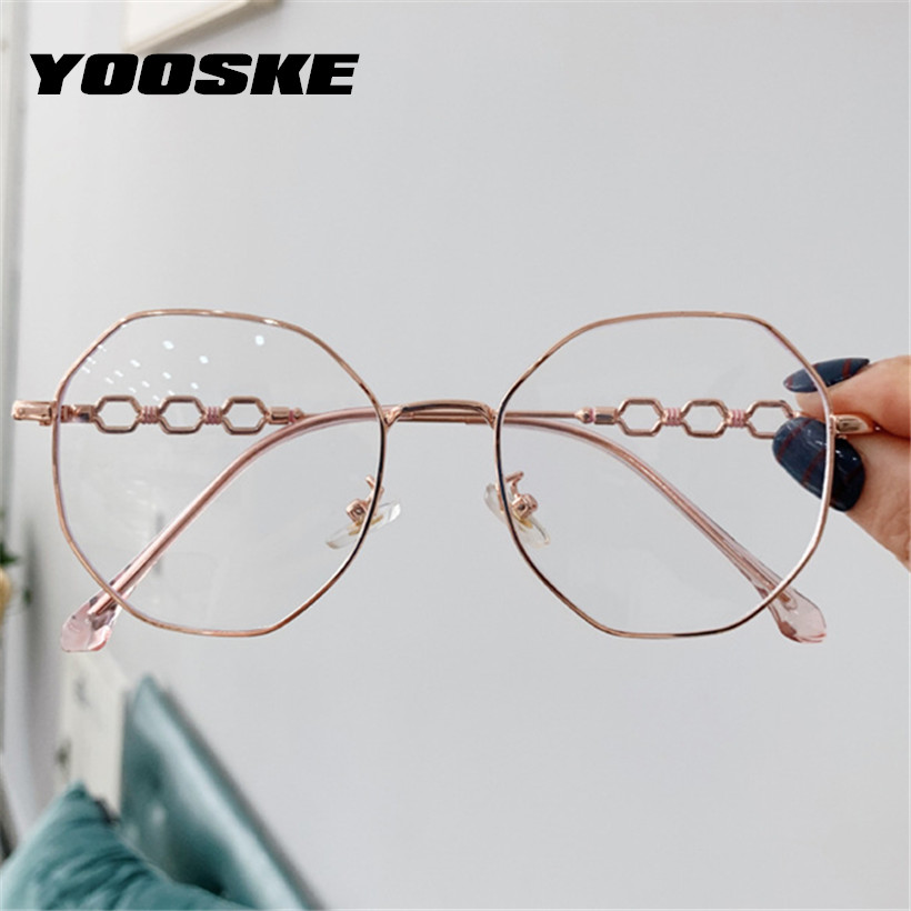 YOOSKE Anti Blue Ray Glasses Retro Metal Spectacles Frames for Women Polygon Clear Lens Myopia Eyeglasses Frame image