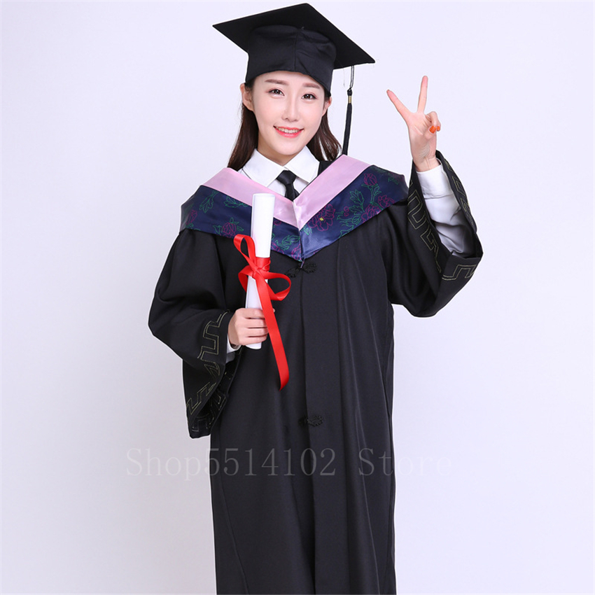 2020 Adult Student School Uniform High School University Graduation Costumes 6Colors Academic Bachelor Master's Clothes Robe+cap