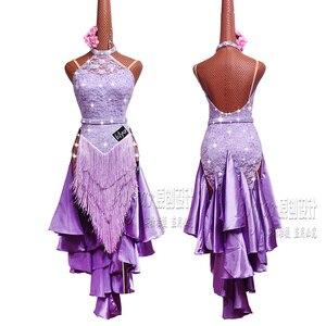 Новинка, платье для латиноамериканских танцев, платье для конкурсов, костюмы, юбка, платье для выступлений, стразы, Детская фиолетовая юбка ...