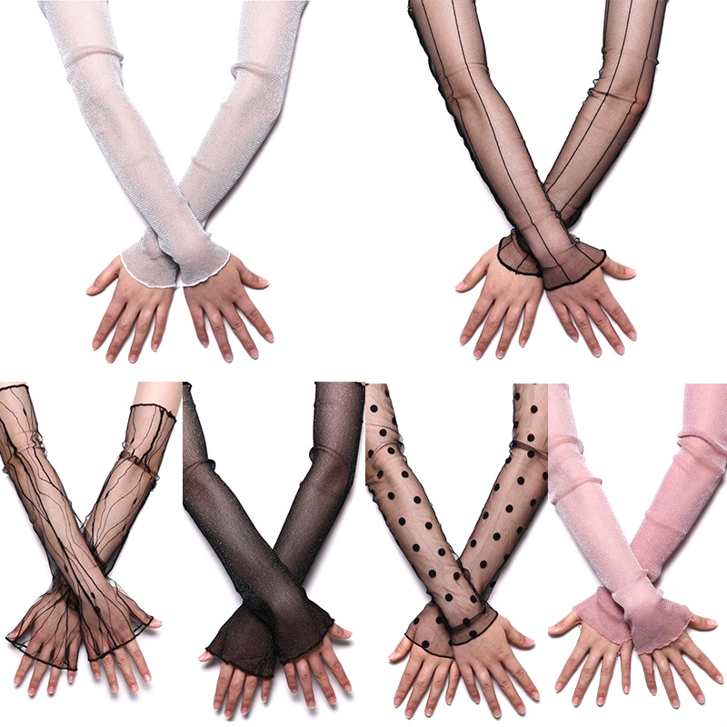 Driving Arm Warmers Sleeves Women's Summer Sun Protection Sleeves Mesh Lace UV Thin Long-sleeved Bike Breathable Cycling Gloves