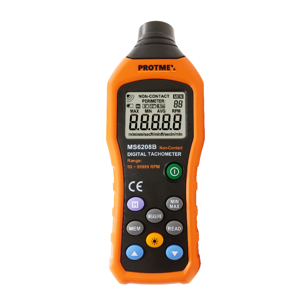 50 250mm Non contact Measurement Digital Tachometer With 100 Groups Data Logging, Data Hold, Max/Min/AVG