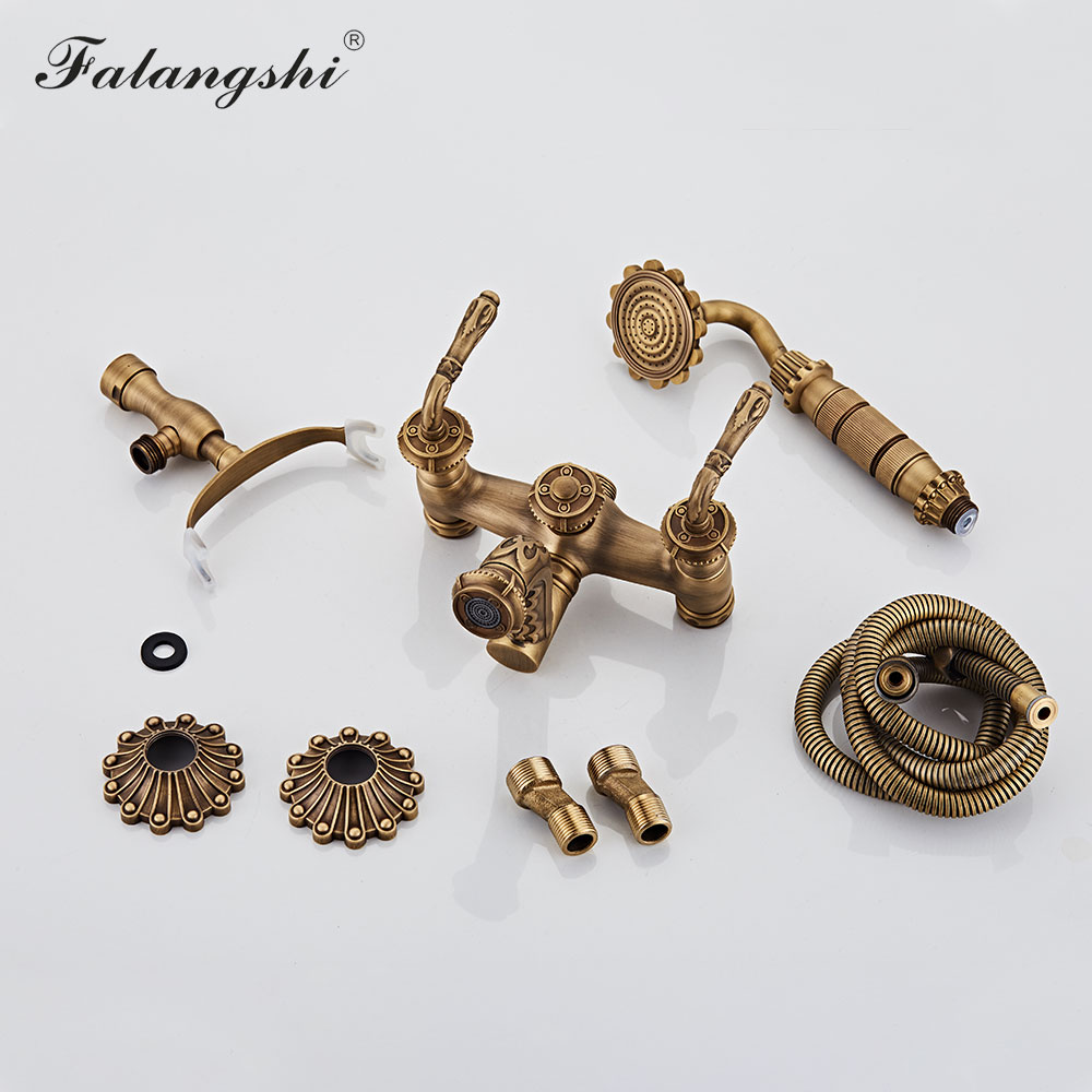 Antique Bronze Bathroom Shower Faucet High Quantity Bathtub Shower Set Mixer With Hand Shower Taps Wall Antique Bronze Bathroom Shower Faucet High Quantity Bathtub Shower Set Mixer With Hand Shower Taps Wall Mounted WB1603