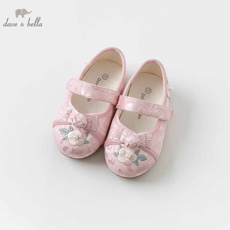 DBJ12881Dave Bella spring baby girl kids satin jacquard floral shoes children brand shoes
