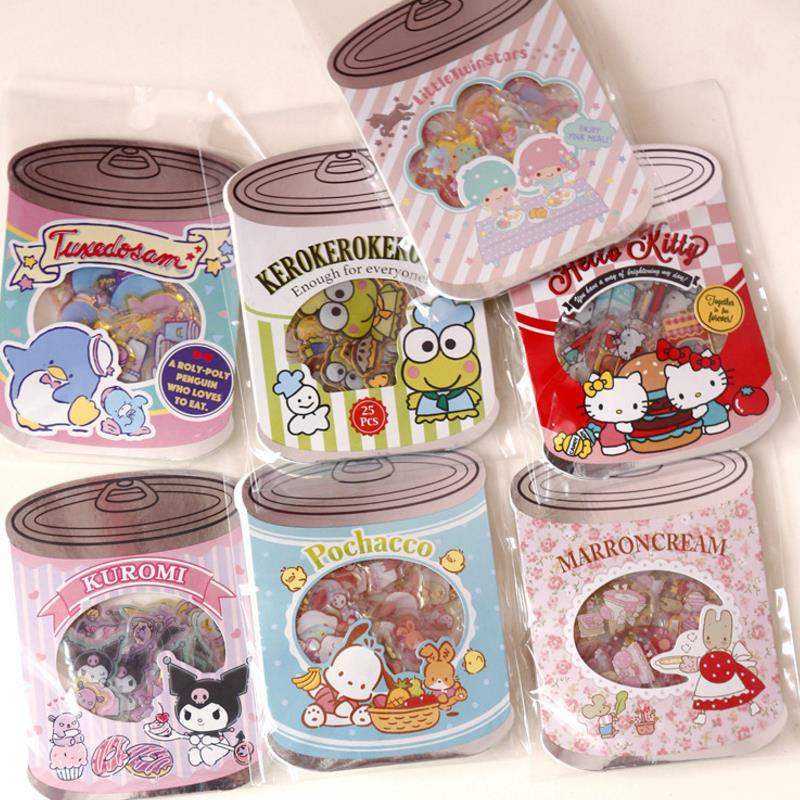 1pack New Lovely Canned Sticker Pack Sanrio Series Melody Stickers Diary Label Stickers Decor Scrapbooking DIY Stickers Toy Gift