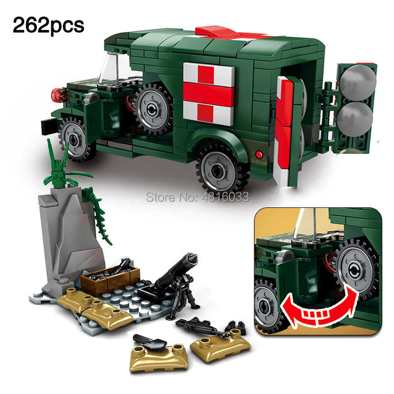 World War II Army Rescue Soldiers WC54 Battlefield Vehicle Ambulance Building Block Kid Toys Gift Compatible legoinglys Military
