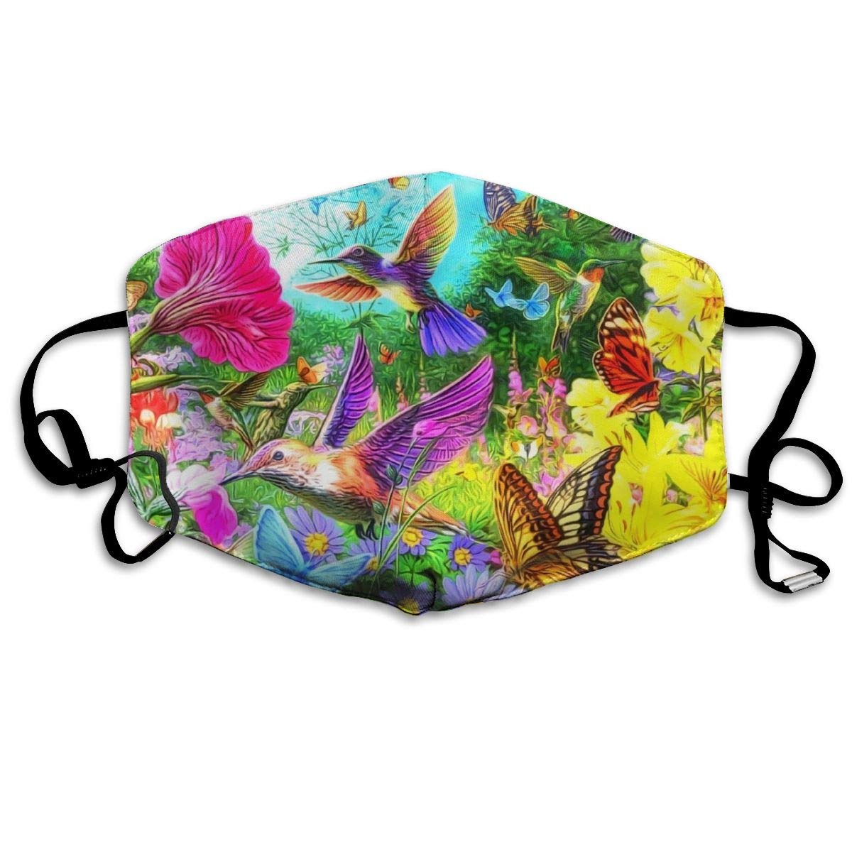 Hummingbird And Butterfly Washable Reusable   Mask, Cotton Anti Dust Half Face Mouth Mask For Kids Teens Men Women With